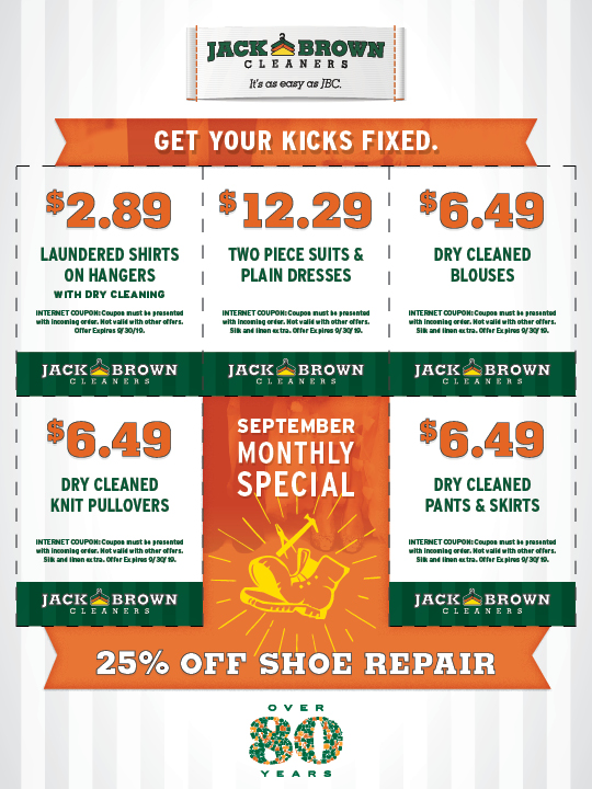 photo relating to Printable Dry Cleaning Coupons named Jack Brown Cleaners printable-discount coupons